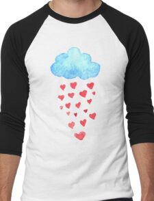 Rain drops of red hearts in the blue sky Men's Baseball ¾ T-Shirt