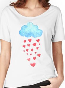 Rain drops of red hearts in the blue sky Women's Relaxed Fit T-Shirt