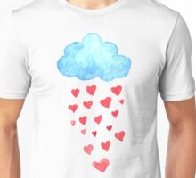 Rain drops of red hearts in the blue sky Unisex T-Shirt