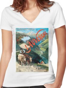 L'Auvergne, French Travel Poster Women's Fitted V-Neck T-Shirt