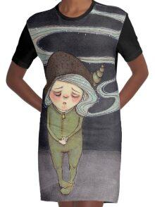 Sad Little Gnome Girl Graphic T-Shirt Dress