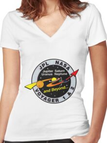 Voyager Extended Mission Logo Women's Fitted V-Neck T-Shirt