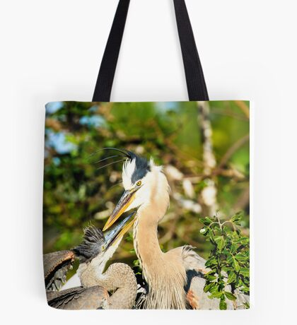 Great Blue Herons Adult with Young Tote Bag