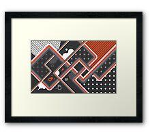 Graphic Linework Illustration - Orange Framed Print
