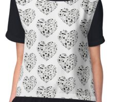 Black and White Music Notes Hearts Chiffon Top