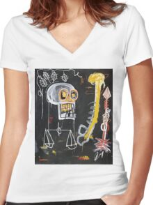 Basquiat 's ideas on Justice and huge dick Women's Fitted V-Neck T-Shirt