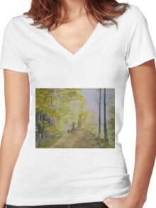 A Walk By The River Women's Fitted V-Neck T-Shirt