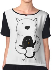 A polar bear and a penguin are real friends Chiffon Top