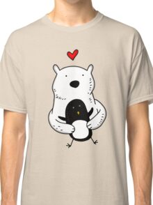 A polar bear and a penguin are real friends Classic T-Shirt