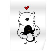 A polar bear and a penguin are real friends Poster