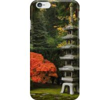 Japanese Maple Tree in Autumn with Pagoda iPhone Case/Skin