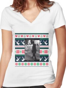 Death  grips Christmas sweater  Women's Fitted V-Neck T-Shirt
