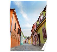 Street view in medieval town of Sighisoara, Transylvania,Romania Poster