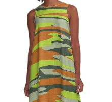 orange yellow camo abstract 6 A-Line Dress