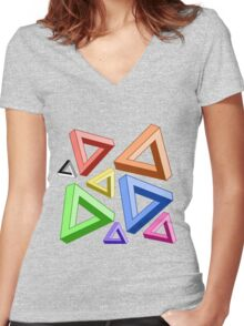 Impossible Triangle Love. Women's Fitted V-Neck T-Shirt