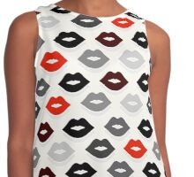 Red and Black Lips Pattern Contrast Tank