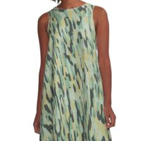 pale green and yellow camo A-Line Dress