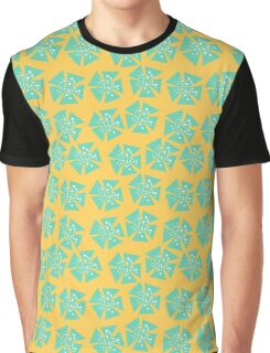 Aqua Flower Pattern On Yellow Graphic T-Shirt