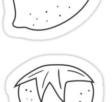 black white fruit  Sticker