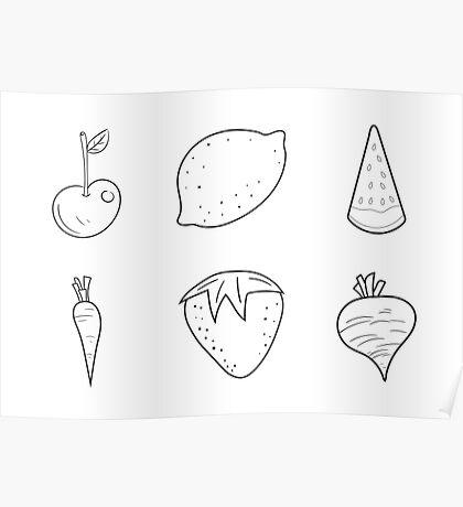 black white fruit  Poster
