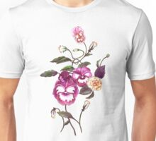 Pansies and Peonies on Ecru Unisex T-Shirt