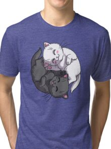Kitten Kitty Yin Yang black and white sleeping circle Tri-blend T-Shirt