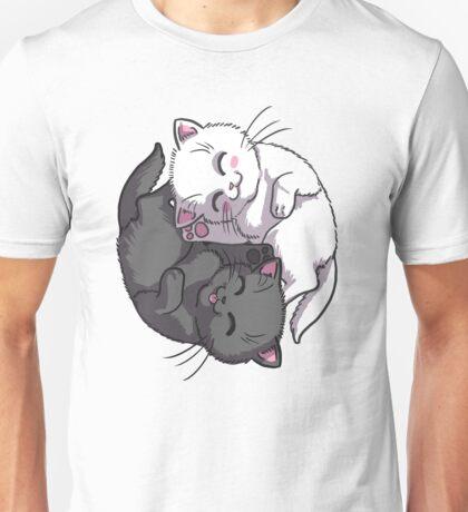 Kitten Kitty Yin Yang black and white sleeping circle Unisex T-Shirt