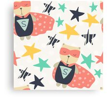 Super Hero Bear in Cape With Stars Canvas Print