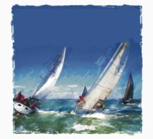 Sailboats Racing in the Wind Kids Tee