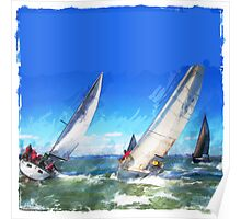 Sailboats Racing in the Wind Poster