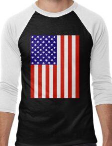 Red,White and Blue USA Flag Men's Baseball ¾ T-Shirt