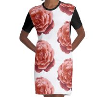 Rose Halftone Graphic T-Shirt Dress