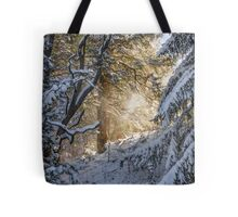Sunshine Through Snowy Trees Tote Bag
