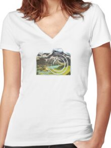 Travel Camera Women's Fitted V-Neck T-Shirt