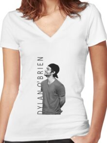 Dylan O'Brien - Black and White Women's Fitted V-Neck T-Shirt