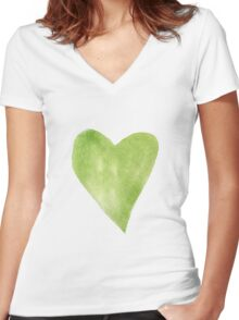Green Watercolor Heart Women's Fitted V-Neck T-Shirt