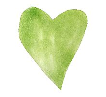 Green Watercolor Heart Photographic Print