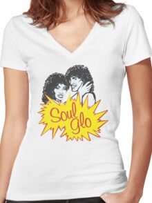 JUST LET YOUR SOUL GLO!!!!!  Women's Fitted V-Neck T-Shirt
