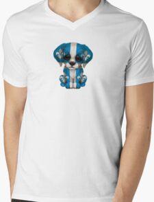 Cute Patriotic Quebec Flag Puppy Dog Mens V-Neck T-Shirt