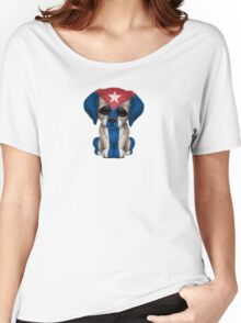 Cute Patriotic Cuban Flag Puppy Dog Women's Relaxed Fit T-Shirt