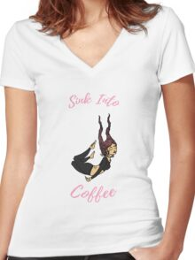 Sink Into Coffee Women's Fitted V-Neck T-Shirt