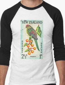New Zealand Bird Print Men's Baseball ¾ T-Shirt
