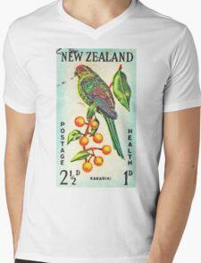 New Zealand Bird Print Mens V-Neck T-Shirt