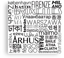 Text and the City in Black/White Canvas Print