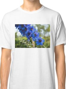 Sapphire Blues and Pale Greens - a Showy Delphinium Classic T-Shirt