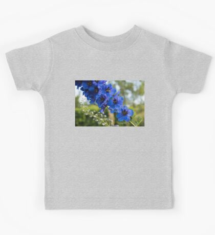 Sapphire Blues and Pale Greens - a Showy Delphinium Kids Tee