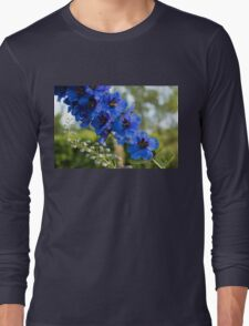 Sapphire Blues and Pale Greens - a Showy Delphinium Long Sleeve T-Shirt