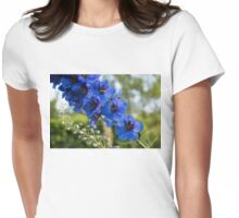 Sapphire Blues and Pale Greens - a Showy Delphinium Womens Fitted T-Shirt
