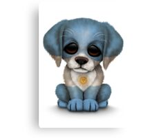 Cute Patriotic Argentinian Flag Puppy Dog Canvas Print