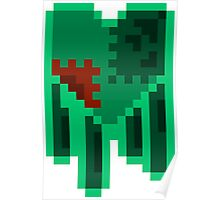 Green Dripping Pixel Heart Poster